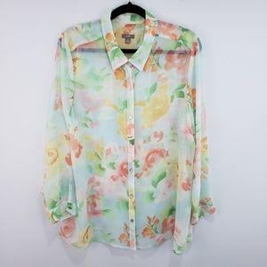 J Jill Sheer Floral Button Down Blouse